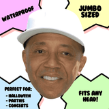 Confused Russell Simmons Mask - Perfect for Halloween, Costume Party Mask, Masquerades, Parties, Festivals, Concerts - Jumbo Size Waterproof Laminated Mask