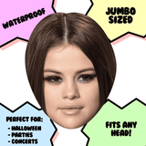 Disgusted Selena Gomez Mask - Perfect for Halloween, Costume Party Mask, Masquerades, Parties, Festivals, Concerts - Jumbo Size Waterproof Laminated Mask