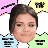 Silly Selena Gomez Mask - Perfect for Halloween, Costume Party Mask, Masquerades, Parties, Festivals, Concerts - Jumbo Size Waterproof Laminated Mask