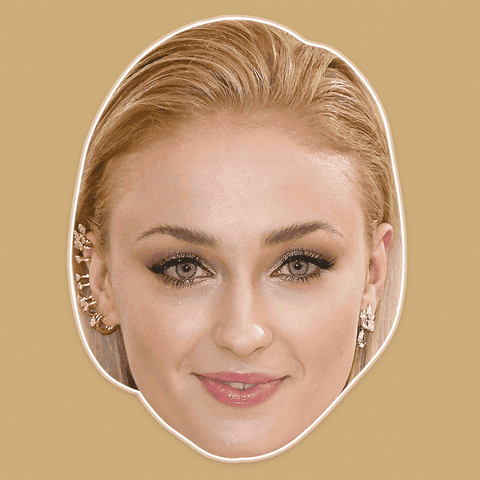 Excited Sophie Turner Mask - Perfect for Halloween, Costume Party Mask, Masquerades, Parties, Festivals, Concerts - Jumbo Size Waterproof Laminated Mask