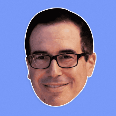 Excited Steven Mnuchin Mask - Perfect for Halloween, Costume Party Mask, Masquerades, Parties, Festivals, Concerts - Jumbo Size Waterproof Laminated Mask