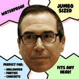 Neutral Steven Mnuchin Mask - Perfect for Halloween, Costume Party Mask, Masquerades, Parties, Festivals, Concerts - Jumbo Size Waterproof Laminated Mask