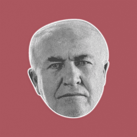 Angry Thomas Edison Mask - Perfect for Halloween, Costume Party Mask, Masquerades, Parties, Festivals, Concerts - Jumbo Size Waterproof Laminated Mask
