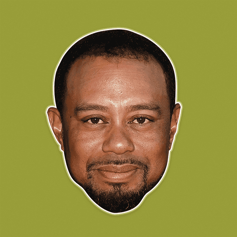 Neutral Tiger Woods Mask - Perfect for Halloween, Costume Party Mask, Masquerades, Parties, Festivals, Concerts - Jumbo Size Waterproof Laminated Mask