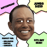 Silly Tiger Woods Mask - Perfect for Halloween, Costume Party Mask, Masquerades, Parties, Festivals, Concerts - Jumbo Size Waterproof Laminated Mask
