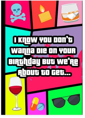 Grand Theft Auto GTA Drunk Wasted Happy Birthday Card PLAYS WASTED SOUND EFFECT
