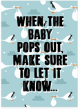 Rick Roll Never Gonna Give You Up New Baby Pregnancy Baby Shower Card (PLAYS ACTUAL SONG)