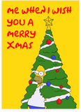 Homer Simpson Hidden Bush Meme Christmas Tree The Simpsons Holiday Christmas Card (PLAYS SOUND)