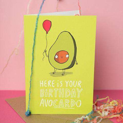 Here Is Your Birthday Avocardo Funny Happy Birthday Card FREE SHIPPING