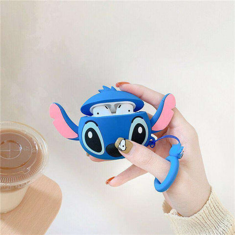 Big Cute Blue Stitch from Lilo and Stitch Apple Airpods Case FREE SHIPPING
