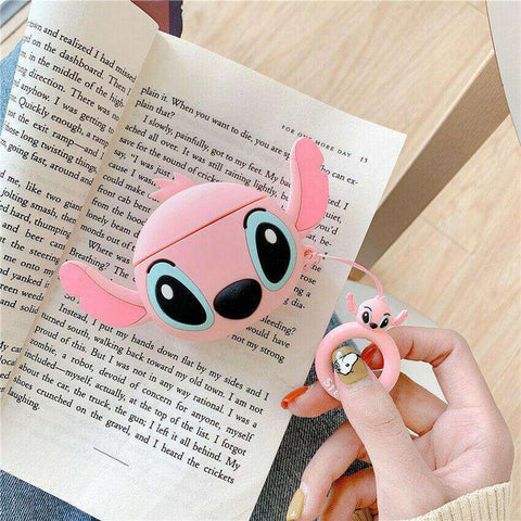 Big Cute Angel Pink Stitch Lilo and Stitch Apple Airpods Case FREE SHIPPING