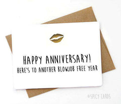 Another Blowjob Free Year Funny Anniversary Card Valentines Day Card FREE SHIPPING