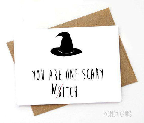 One Scary Witch Funny Halloween Card, Funny Spooky Halloween Card FREE SHIPPING