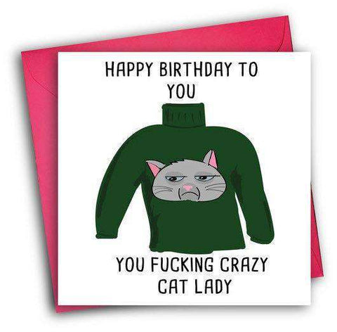 Fucking Crazy Cat Lady Funny Happy Birthday Card FREE SHIPPING
