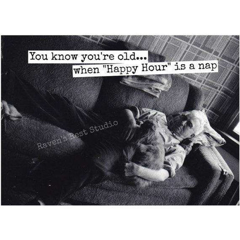 Funny hilarious unexpected trolling birthday cards page 6 you know youre old when happy hour is a nap funny vintage style happy bookmarktalkfo Image collections