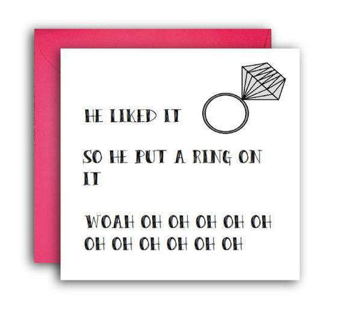 Beyonce Put A Ring On It Funny Happy Wedding Day Card Getting Married Card Engagement Card FREE SHIPPING