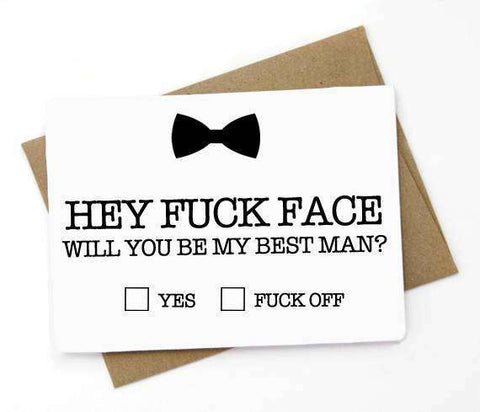 Fuck Face Be My Best Man Funny Happy Wedding Day Card Getting Married Card Best Man Proposal Card Engagement Card FREE SHIPPING