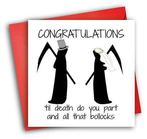 Grim Reaper Til Death Do You Part And All That Bollocks Funny Happy Wedding Day Card Getting Married Card Engagement Card FREE SHIPPING