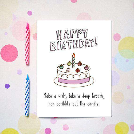 make a wish birthday take a deep breath scribble the candle funny