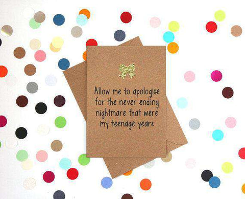 For The Never Ending Nightmare That Were My Teenage Years Funny Mother's Day Card Card For Her Card For Mom FREE SHIPPING