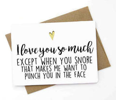 I Love You Except When You Snore Funny Anniversary Card Valentines Day Card FREE SHIPPING