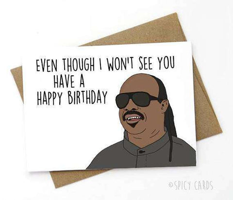 Stevie Wonder Even Though I Wont See You Funny Happy Birthday Card FREE SHIPPING