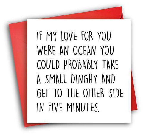 Ocean Love Funny Anniversary Card Valentines Day Card Love Card FREE SHIPPING