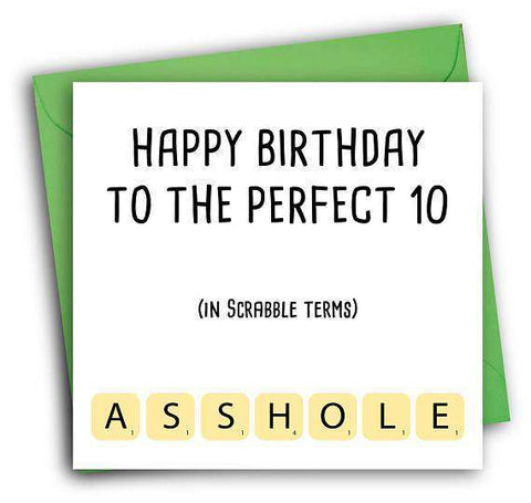 Scrabble Asshole Funny Happy Birthday Card Free Shipping Unwelcome