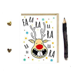 Rudolph Reindeer Fa Ra Ra Funny Christmas Card Holiday Card