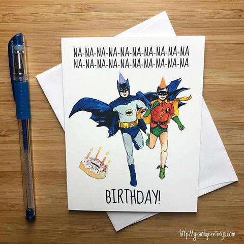Batman Robin Dynamic Duo Nananana Happy Birthday Card FREE SHIPPING