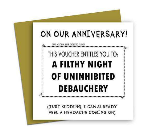 Voucher Card To A Filthy Night Of Debauchery Funny Anniversary Card Valentines Day Card Love Card FREE SHIPPING