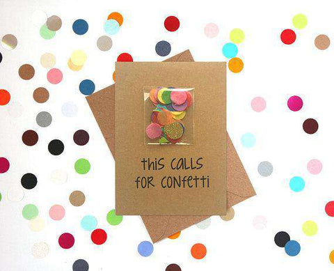 This Calls For Confetti Funny Happy Wedding Day Card Getting Married Card Engagement Card FREE SHIPPING
