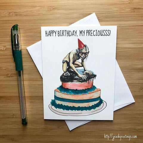 Lord of The Rings Gollum Happy Birthday Card FREE SHIPPING