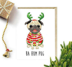 Ba Hum Pug Dog Funny Christmas Card Holiday Card