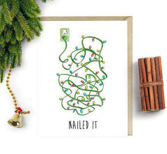Nailed It Humor Christmas Decor Lights Funny Christmas Card Holiday Card
