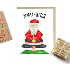 Nama Sleigh Yoga Santa Funny Christmas Card Holiday Card