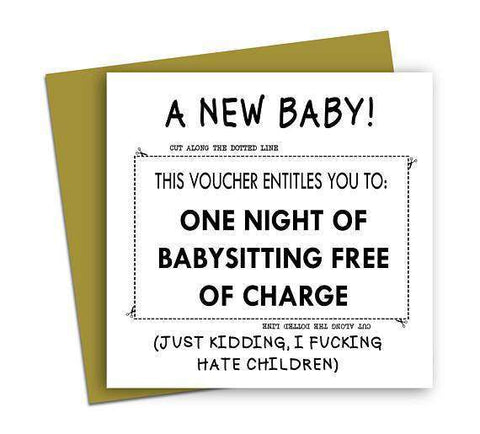 Voucher Entitles To One Night Of Babysitting Free Of Charge Funny New Baby Congratulations Card Pregnancy Card Baby Shower Card FREE SHIPPING