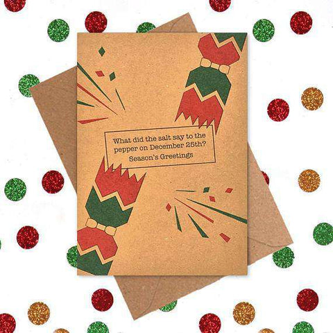 salt to pepper on december 25th seasons greetings funny christmas card holiday card free shipping