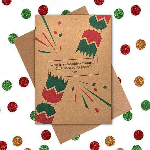 Crocodile's Favourite Christmas Party Game Snap Funny Christmas Card Holiday Card FREE SHIPPING