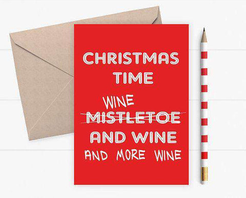 Mistletoe and Wine Funny Christmas Card Holiday Card FREE SHIPPING