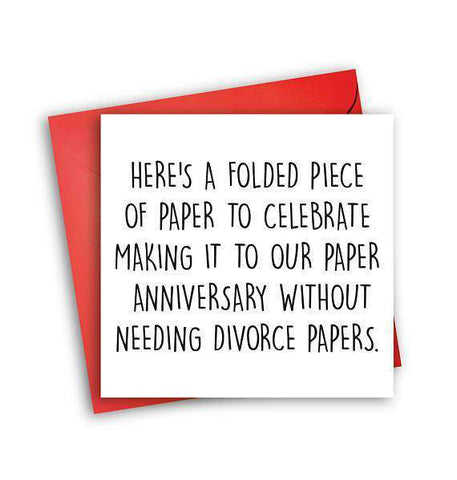 Celebrate Anniversary Without Needing Divorce Papers Funny Anniversary Card Valentines Day Card Love Card FREE SHIPPING