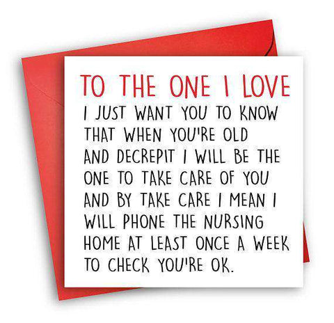 Phone Nursing Home At Least Once A Week Check On You Funny Anniversary Card Valentines Day Card Love Card FREE SHIPPING