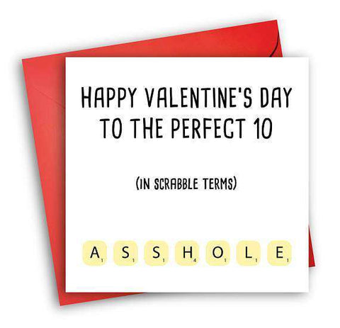 Scrabble Asshole Funny Anniversary Card Valentines Day Card Love Card FREE SHIPPING