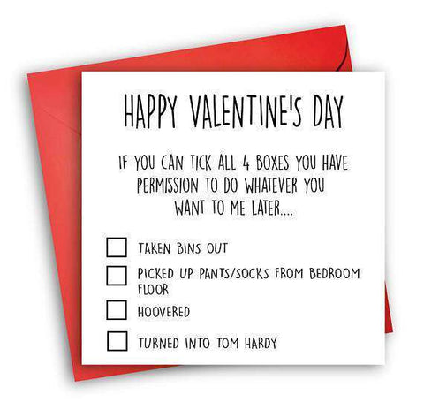 Tom Hardy Checklist Funny Anniversary Card Valentines Day Card Love Card FREE SHIPPING