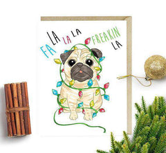 Fa la la la Freakin la Cute Dog Funny Christmas Card Holiday Card