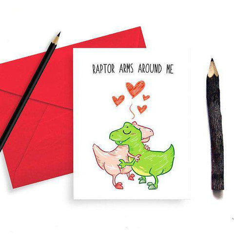 Raptor Arms Around Me Cute Dinosaur Funny Anniversary Card Valentines Day Card