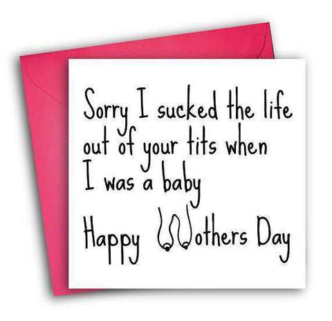 Sucked The Life Out Of Your Tits Breastfeeding Funny Mother's Day Card Card For Her Card For Mom FREE SHIPPING