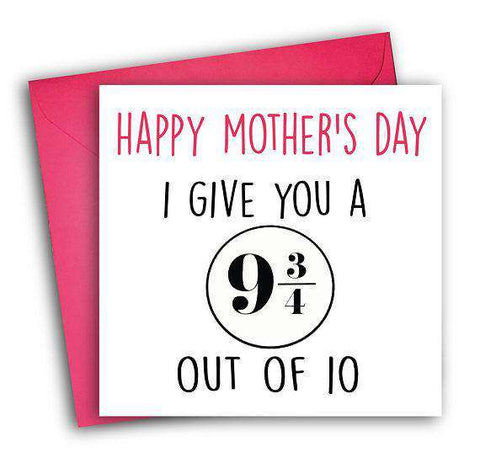 Harry Potter 9 3/4 Platform Score Out Of 10 Funny Mother's Day Card Card For Her Card For Mom FREE SHIPPING