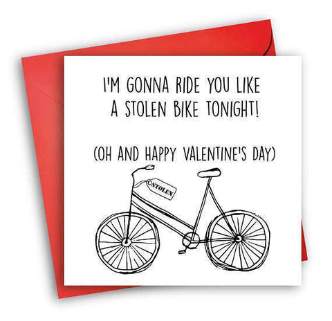 Ride You Like A Stolen Bike Funny Anniversary Card Valentines Day Card Love Card FREE SHIPPING