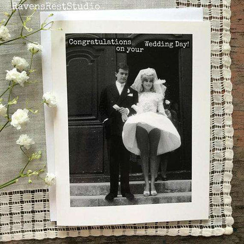 Congratulations on your Wedding Day! Funny Vintage Style Happy Wedding Day Card Getting Married Card Engagement Card FREE SHIPPING